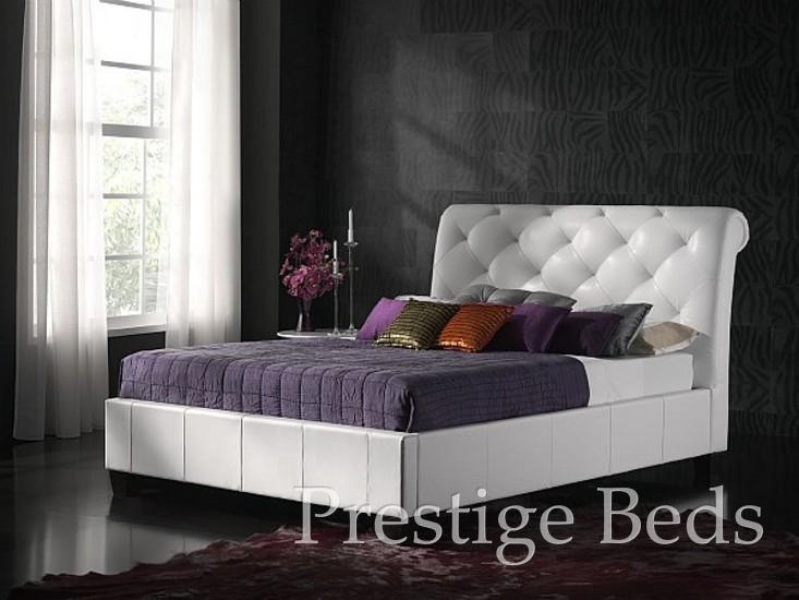 Kaydian Opera White Leather Bed Double Frame Only