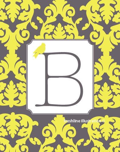 Children or Nursery Art Prints - Monogram Letter Name 8x10 art Print with Bird - Gray, Grey and Yellow: Monograms Letters, Feagin Nurseries, Art Prints, Nurseries Art, Monogram Letters, Alina Mary, Gray Chevron, Mary Feagin, Baby Nurseries