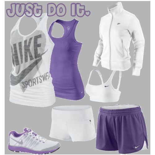 purple & white NIKE workout outfit! Get this and more when you shop Nike online, and get 5% cash back! http://www.studentrate.com/itp/get-itp-student-deals/Nike-Student-Discounts--/0