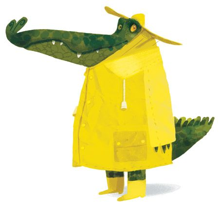 Alligator in a yellow raincoat... (kids' illustrations, art)