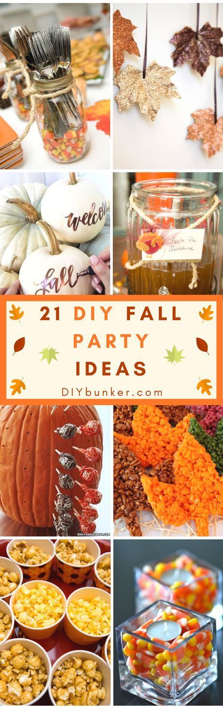 These 21 DIY Fall Party Ideas Are INCREDIBLE! Perfect for Thanksgiving, Halloween or Birthdays. I love how there are centerpieces, decor and snack options!
