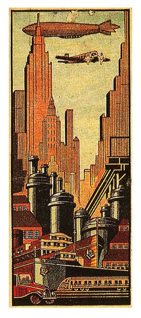 1930s matchbook cover depicting art deco downtown with all the popular modes of transportation; a car, a train, a plane, and a zeppelin.