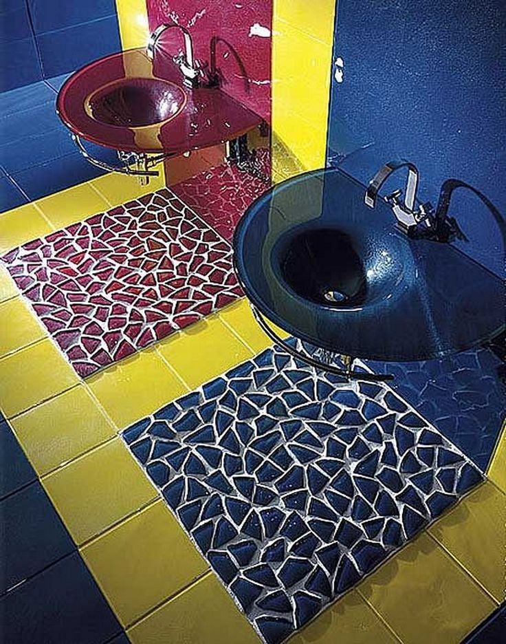 Bathroom : Vetrocolor Bathroom Tile Design Double Unique Sink Red And Blue Wall With Yellow Tile Combine Also Floor For Bathroom Ideas Wonderful Modern Bathroom Tile Ideas That You Feel In Private Heaven
