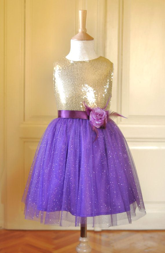 SALE Gold & Purple Flower girl Dress Wedding Bridesmaid  Christmas Sparkle Tulle Sequin Pageant Party Bridal
