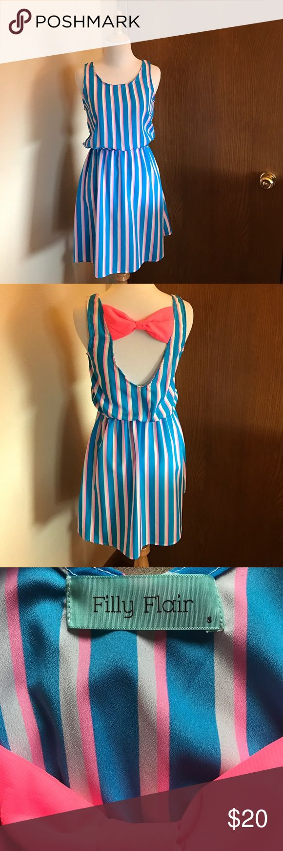 Filly Flair Blue and Pink Striped Dress Size Small Adorable striped dress with bow detail in the back! In good used condition. Filly Flair Dresses Mini