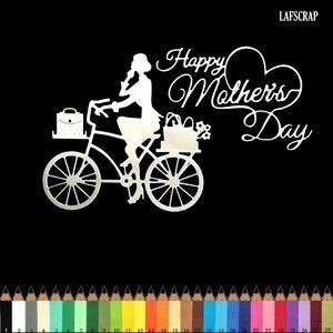 Lot découpes scrapbooking scrap personnage femme à vélo panier de fleurs mot fête maman découpe papier embellissement die cut création