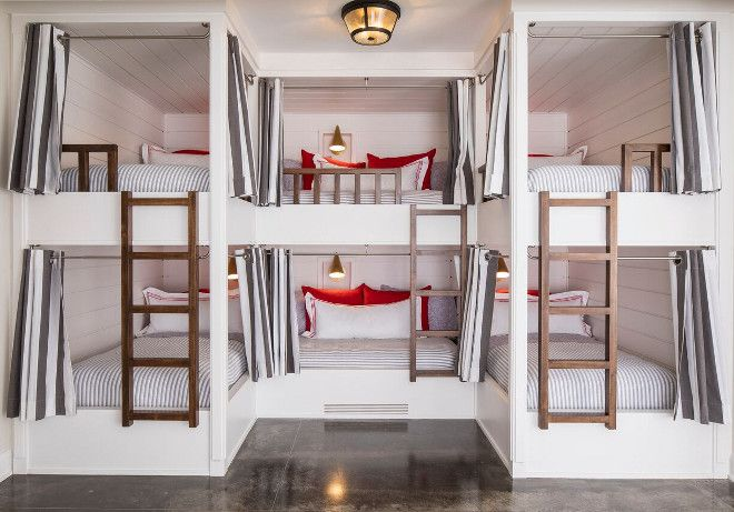 Lake House with Colorful Interiors;  each bed has its own sconce and charging station