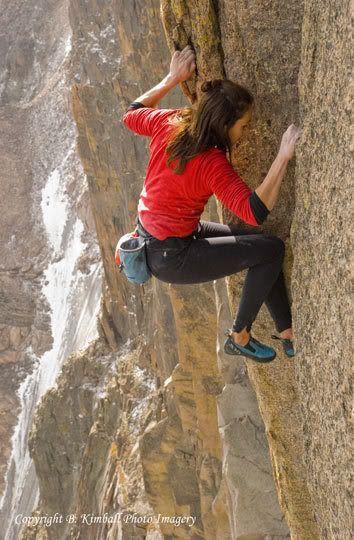 Steph Davis - Free Solo (NO rope) rock climbing. Watch video: http://M80.TV/climbing-videos/steph-davis-free-solo-climbing-the-diamond-longs-peak/