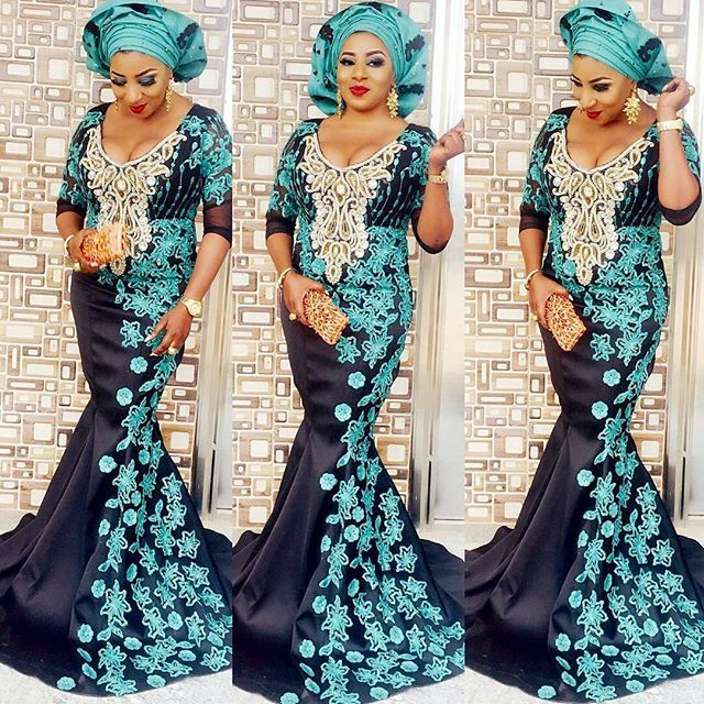 mide Martins rocks aso ebi style check for more>>> http://maboplus.com/mide-martins-stepped-out-in-aso-ebi-styles/