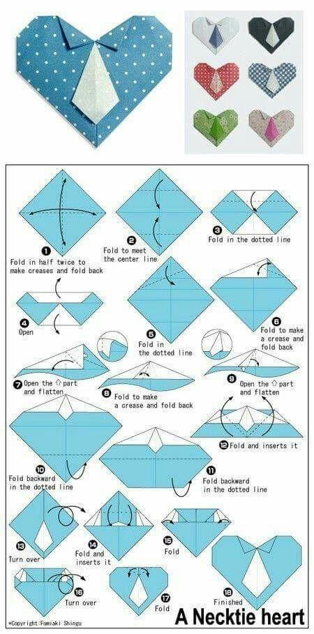 Origami necktie heart