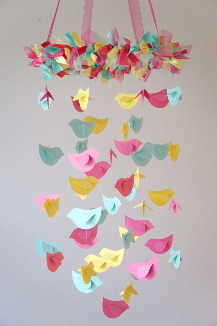 Bird Mobile - Pink, Yellow, Aqua for Baby Nursery Decor