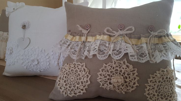 Decorative linen pillow 40cm/40cm  in natural brown color with crocheted flowers by WhispersofAngels17 on Etsy