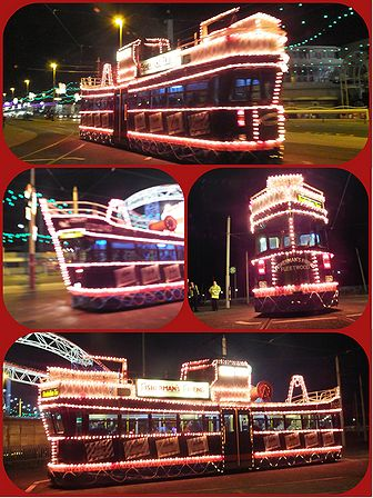 FISHERMAN'S FRIENDS TRAM . RUNS DURING THE BLACKPOOL ILLUMINATIONS