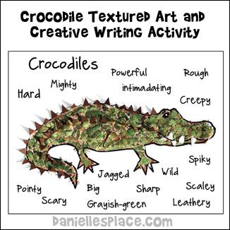 Crocodle Craft - Textured Art and Creative Writing Activity from www.daniellesplace.com