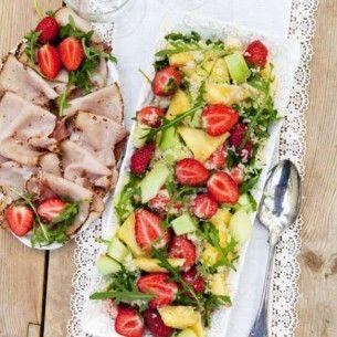 Fruktig sallad med citron- och fikonbalsamvinägrett