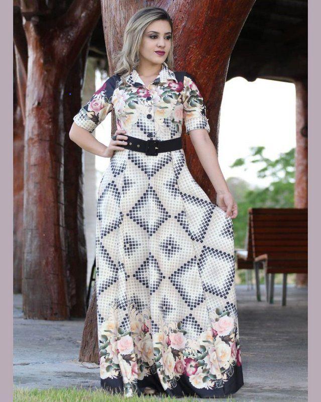 5de38102a7 VESTIDO LONGO GEOMÉTRICO CREPE DE MALHA MODA EVANGÉLICA  modaevangelica   modafeminina  vestido  vestidolongo