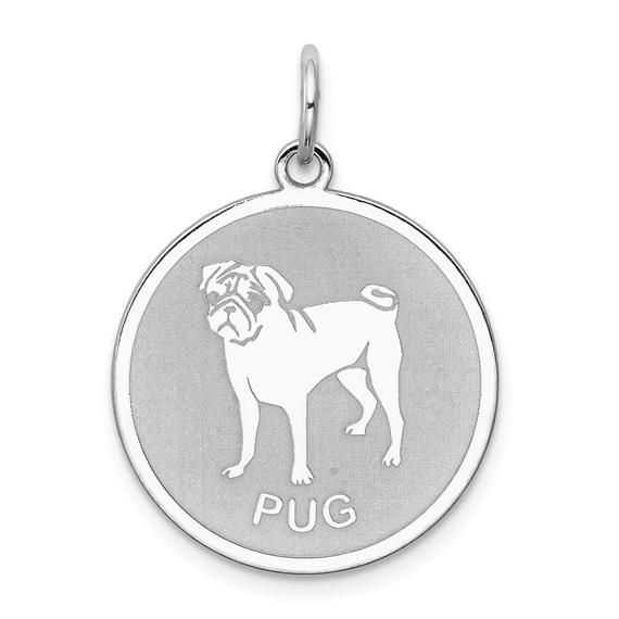 925 Sterling Silver Rhodium-plated Bull Dog Disc Charm
