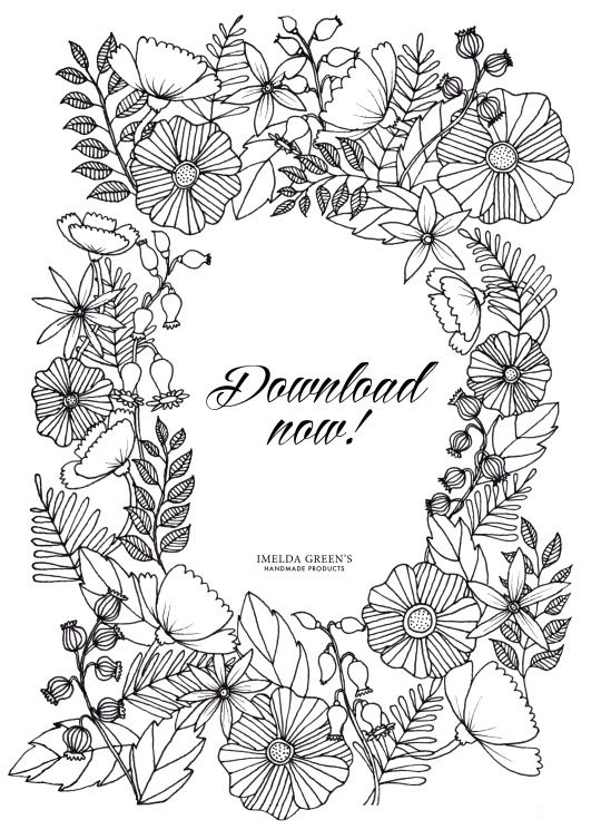 adult coloring page in the floral wreath pattern Try this