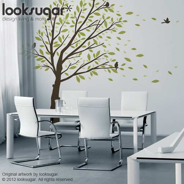0087 Elegant Tree Wall Decal - Tree Wall Sticker - Windy Tree Wall Decal - Modern Home Wall Art - Windy Wind Tree Wall Mural Sticker Decal. $125.00, via Etsy.
