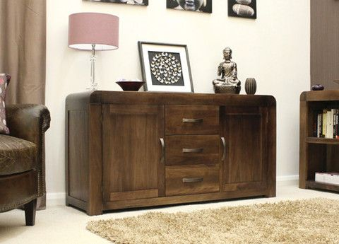 Superb large walnut sideboard with two doors and three drawers. Constructed using solid walnut. Modern interior design. Visit www.walnutfurniturecompany.com and follow @Hello_walnut