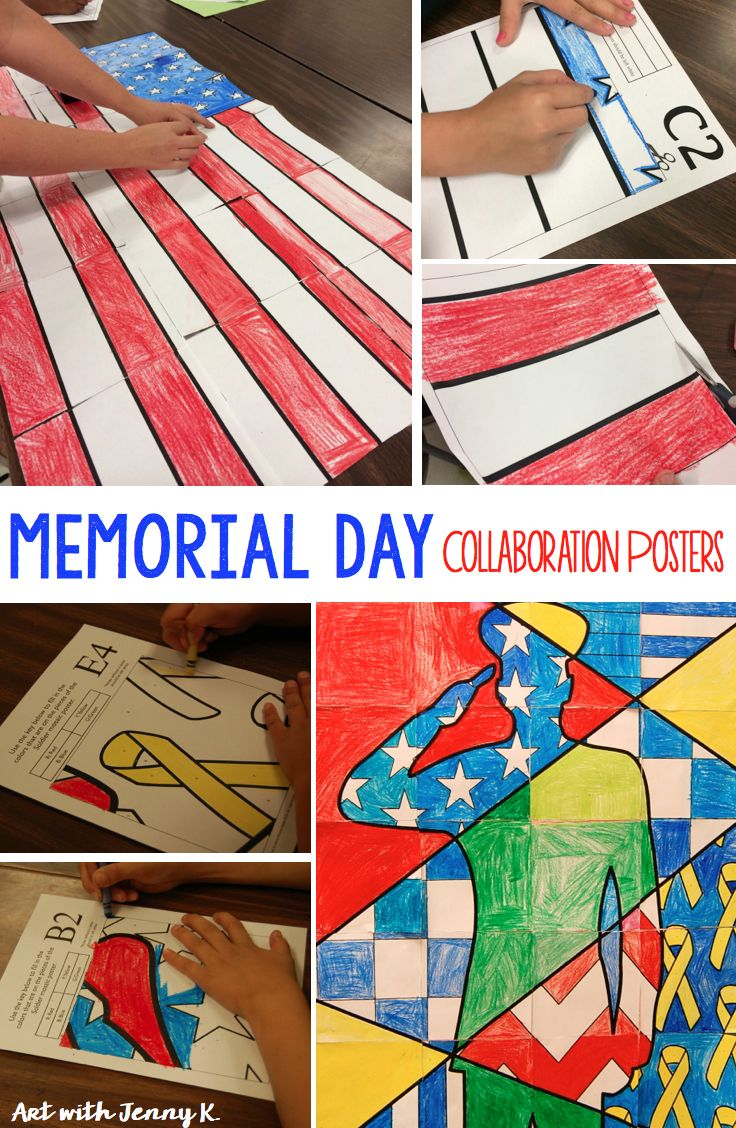 Veteran's Day art projects for kids. Collaborative posters including my FREE American Flag group poster - each child gets to color a part of the larger picture.