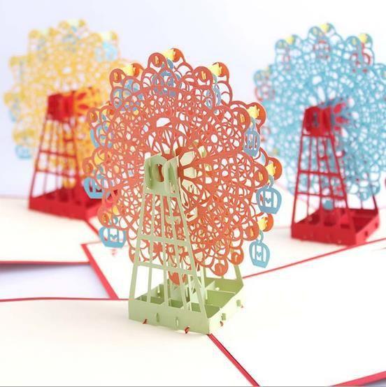 Подарок на день рождения карты Sky Колеса Ручной Декупаж Творческий Киригами & Оригами 3D Pop UP Открытки с конверт (набор из 5)