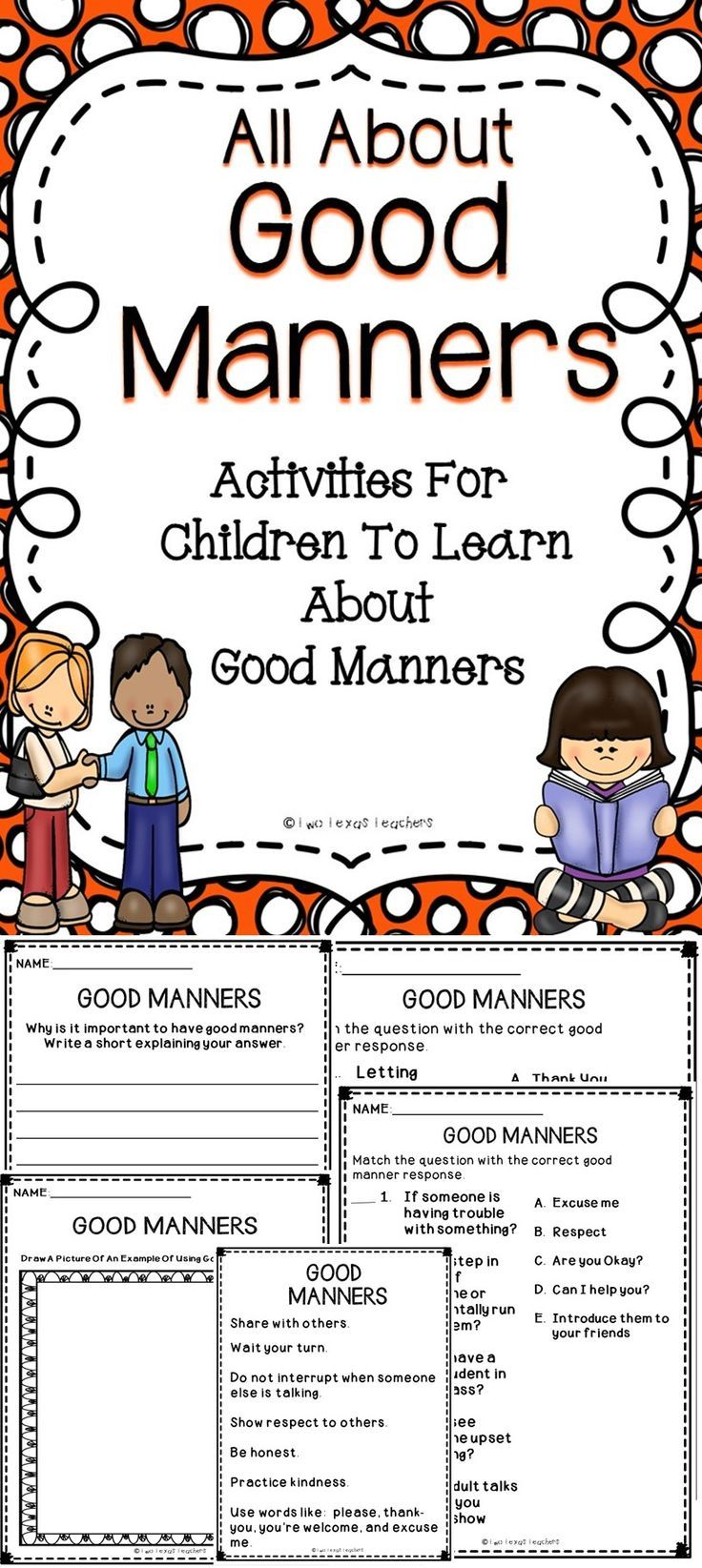 Help students learn positive behaviors with this All About Good Manners activity book. #behavior