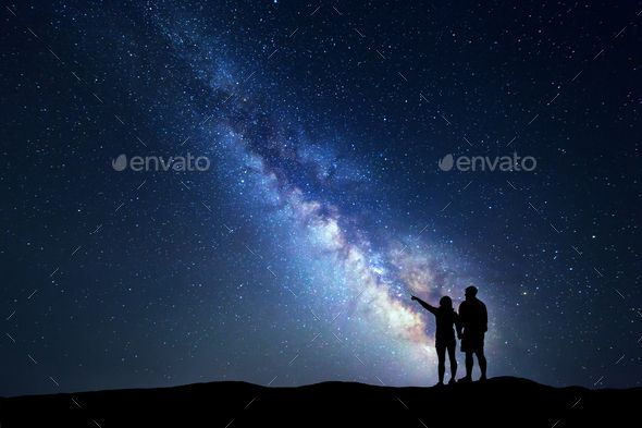 Milky Way With People On The Mountain Landscape Landscape Milky Way Star Sky