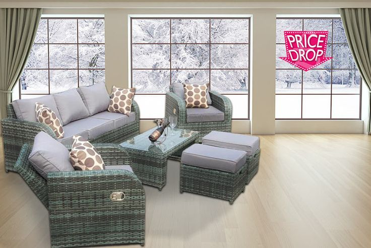 Rattan Recliner Lounge Set - 2 Colours! deal in Sheds & Garden Furniture Get a rattan recliner lounge set.  Choose from either grey or natural.   Includes a cosy three-seater sofa and two fab reclining armchairs.  And two footstools and a coffee table.  Stools can be stored under the table.  Includes cushions for added comfort!