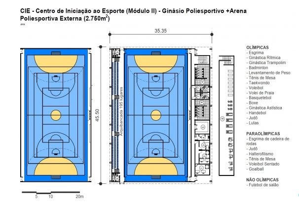 Paragominas conseguiu o modelo II, veja como é:  Modelo II  Ginásio Poliesportivo (arquibancada para 177 lugares)  Área de Apoio (administração, sala de professores/técnicos, vestiários, chuveiros, enfermaria, copa, depósito, academia, sanitário público.)  Quadra Externa Descoberta  Tamanho do terreno – 3.500m²  Área a ser construída – 2.750m²