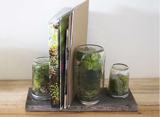 Mason jar terrariums mounted on board plank as book end