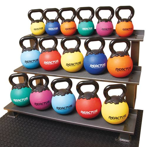 "This kettlebell rack is the perfect way to keep your kettlebells organized and using minimal floor space.  1. Holds any size kettlebell on 3 shelves 2. Back lip on each shelve prevents fall through 3. Steel construction 4. 33""H x 31""W x 23""D"