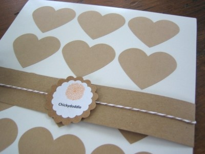 Heart Brown Kraft Sticker Labels  by:-chickydoddle