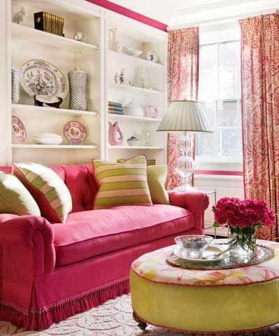 Deep Rose And Light Green Living Room