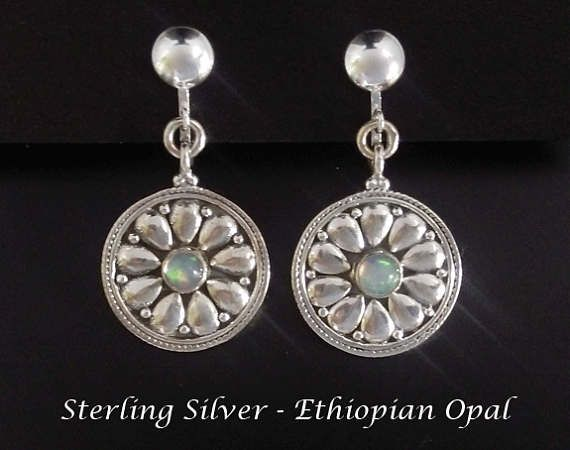 Clip On Earrings 201: Natural Ethiopian Opals in Stunning Sterling Silver Clip On Earrings | Silver Earrings, Clip On Earrings, Gift Idea from www.mothersdayaustralia.net.au and https://www.etsy.com/shop/EarringsArtisan #cliponearrings #earrings #silverearrings #clipon #giftsforwomen #mothersday #mothersdaygiftideas #jewelry #jewellery