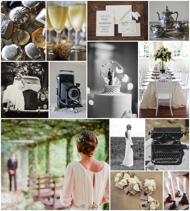 Linen, Lace, & Love: 1940's Wedding Inspiration - I love the vintage pieces like the camera!