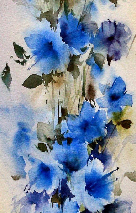 100 % Original signiert Aquarell Blumen Rosen Gemälde Artwork