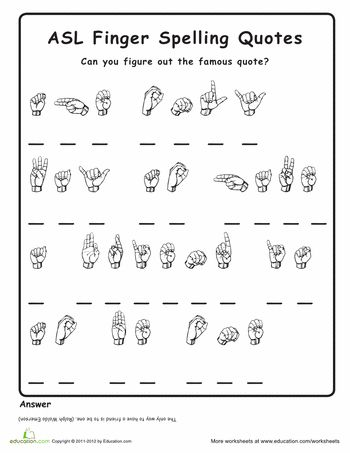 Finger Spelling Practice | Education.com