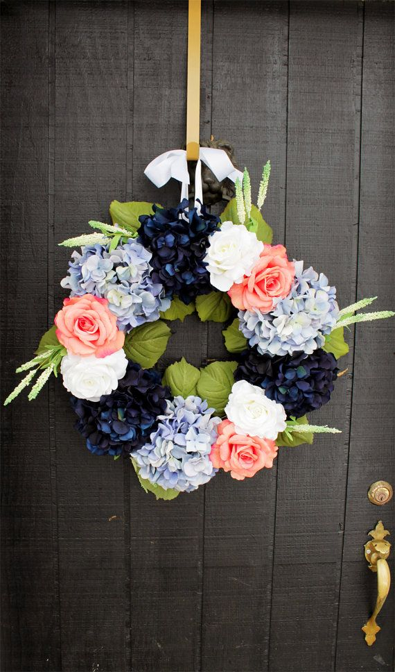 White and Coral Rose Wreath with Navy Blue by WreathIt2Me on Etsy, $95.00