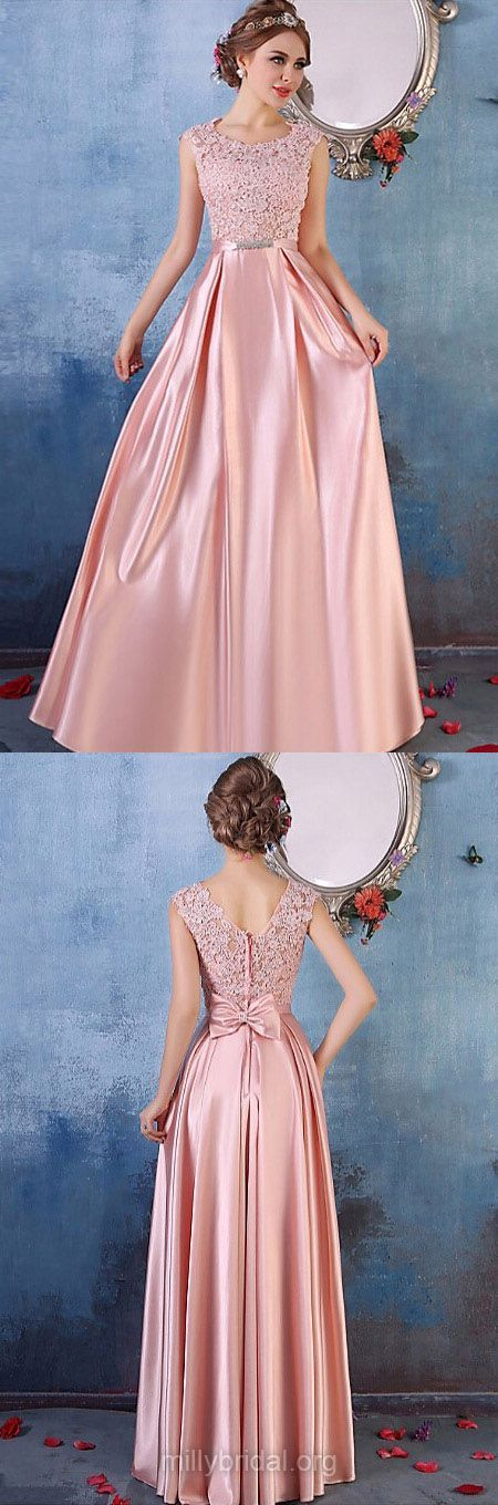 Pink Prom Dresses Long, 2018 Formal Dresses A-line, Scoop Neck Party Dresses Satin Tulle, Lace Evening Dresses Cheap Modest