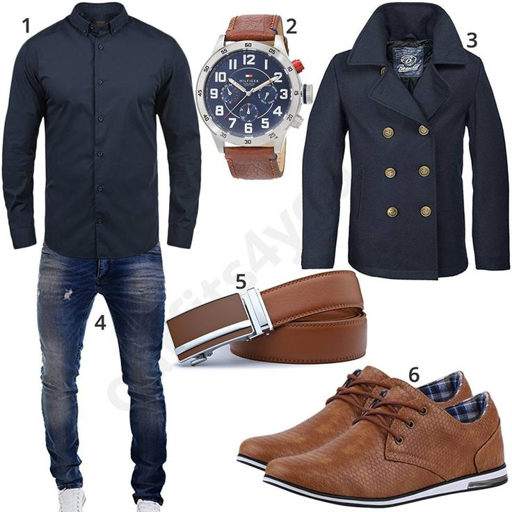 Herrenoutfit mit blauem Hemd, Tommy Hilfiger Uhr, Brandit Mantel mit Knopfleiste, Merish Jeans, braunem Ledergürtel und modischen Business-Sneakern.