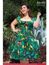 Tropical print dresses plus size