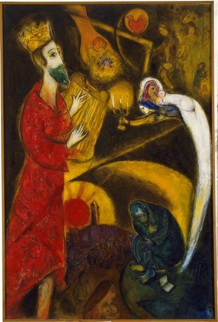 KING DAVID Marc Chagall (1887-1985), fue un pintor francés de origen bielorruso. Marc Chagall se inspiró en las costumbres de la vida en Bielorrusia e interpretó muchos temas bíblicos, reflejando así su herencia judía. En los años 1960 y 1970 se involucró en grandes proyectos destinados en espacios públicos o en importantes edificios civiles y religiosos. La obra de Chagall está conectada con diferentes corrientes del arte moderno. Formó parte de las vanguardias parisinas que precedieron ...