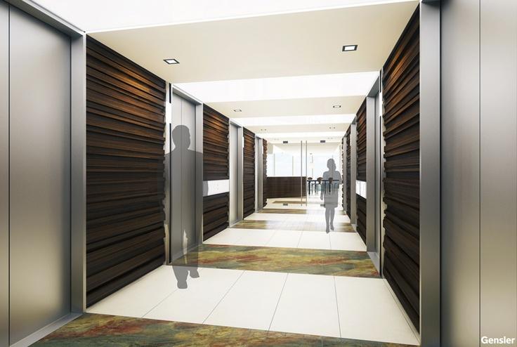 Elevator lobby commercial interior design details for Modern elevator design