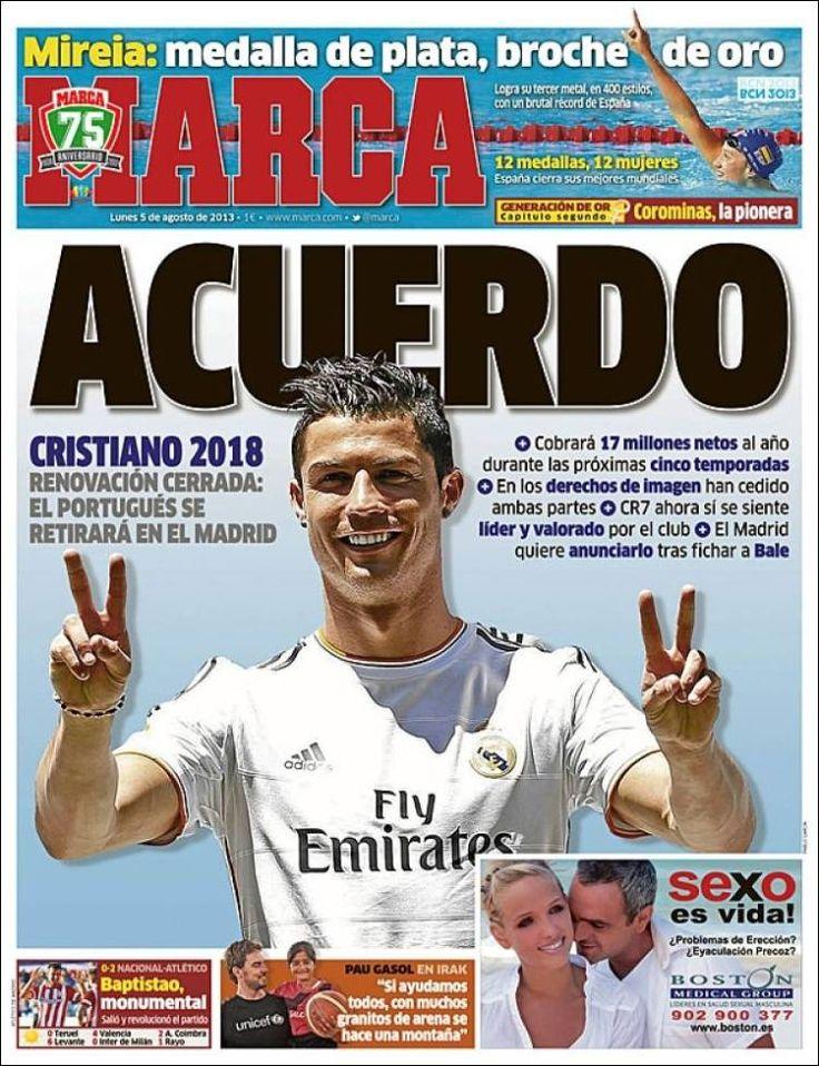 Los Titulares y Portadas de Noticias Destacadas Españolas del 5 de Agosto de 2013 del Diario Marca ¿Que le pareció esta Portada de este Diario Español?