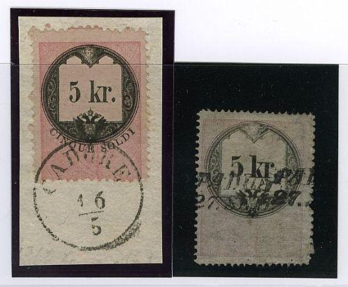 Marche per lettere di accompagnamento di pacchi postali - 5 kr. sciolto difettoso (5 Sor)   5 kr./cinque soldi su framm. ann. CADORE (12). Ray,