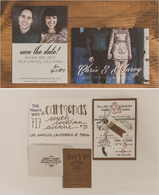 DIY save the dates and wedding invites