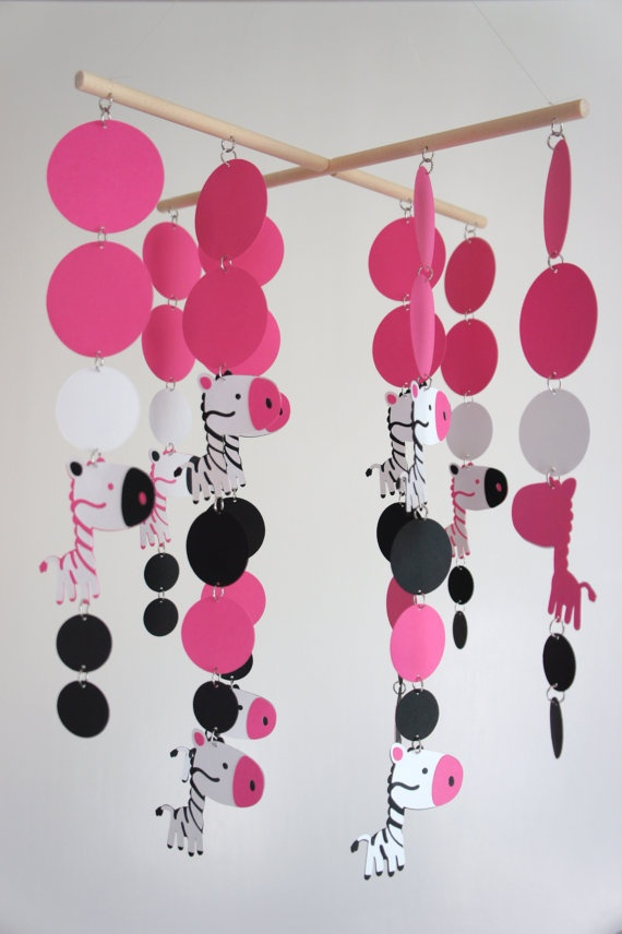 Pink And Zebra Wind Chime With Crystals And Styrofoam