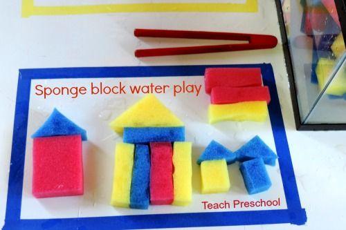Sponge block water play by Teach Preschool