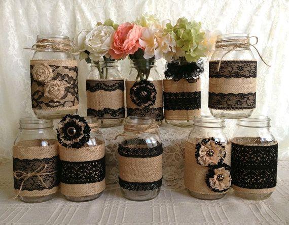 VENTA 10 x arpillera rústica y encaje negro cubierto tarro de masón jarrones decoración, compromiso, despedida de soltera, decoración de fiesta de aniversario de boda